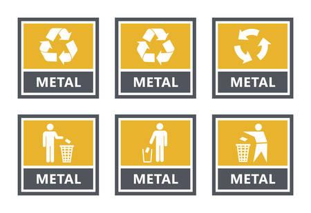 jeu d'étiquettes de recyclage des métaux, icônes de tri des déchets