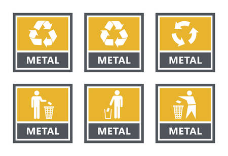 metal recycling labels set, waste sorting icons