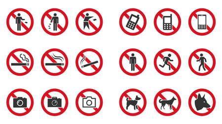 Prohibition sign set - no phone, no littering, no entry etc