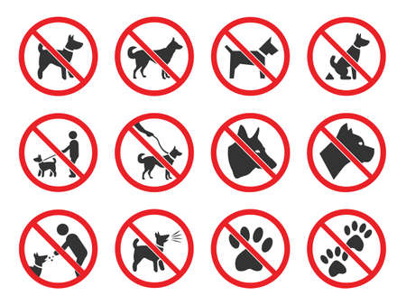No dogs allowed, dog prohibition sign set Stock Illustratie