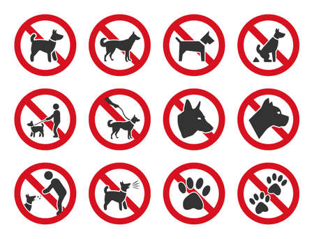 No dogs sign, dog prohibition icons set