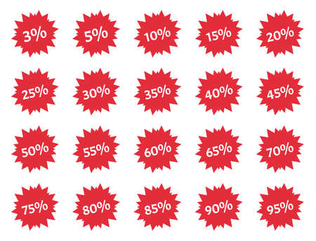 discount price off tags set, sale labels