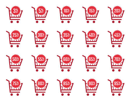 discount price tags and labels in shopping cart