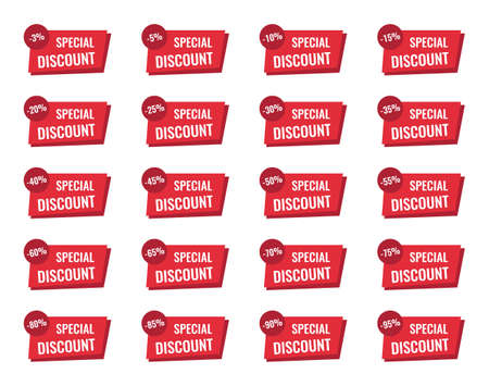 discount labels set, sale tag, offer price Ilustracja