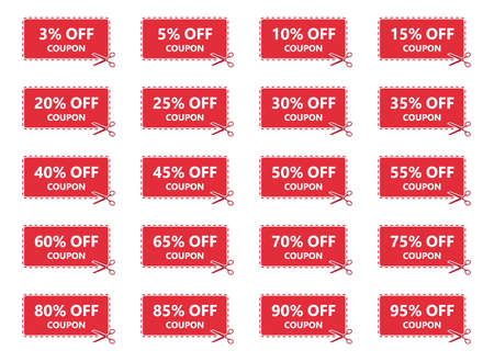 special offer sale coupons, discount labels set
