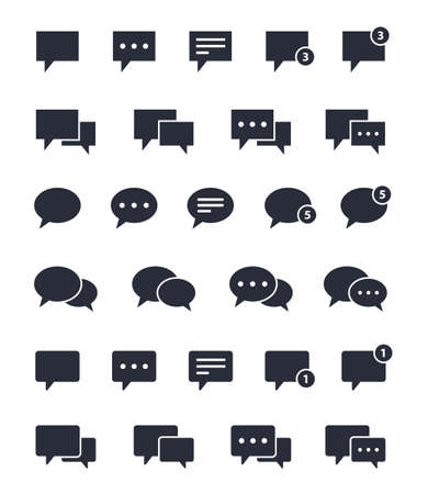 chat bubble set, speech and message icons