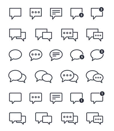 chat speech bubble icons set, message signs