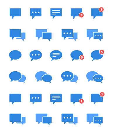 chat icons set, speech bubble vectpr sign