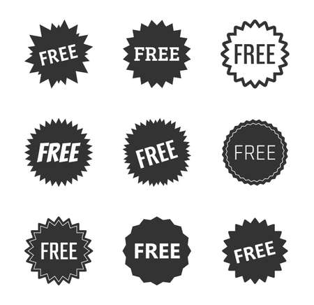 free label icons set, free tag vector illustration Ilustracja