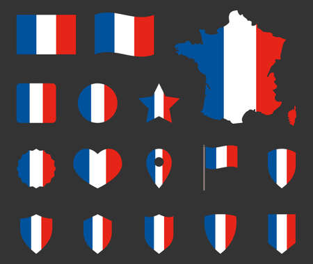 France flag icons set, French flag symbol Ilustracja