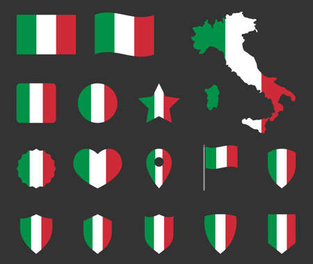 italian flag symbols set, Italy national flag icons