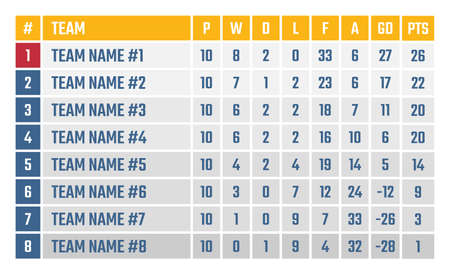 sports league table, soccer or football tournament table Ilustracja