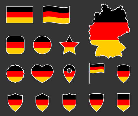 Germany flag icons set, German flag symbol