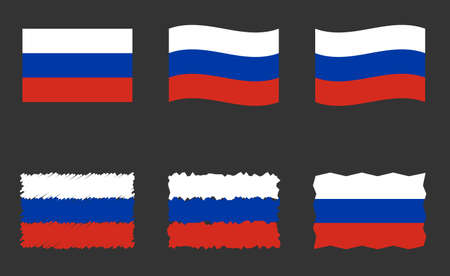 Russia flag, Russian flag vector images set  イラスト・ベクター素材