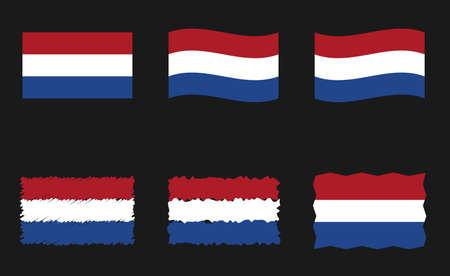 Netherlands flag, Holland flag vector images set