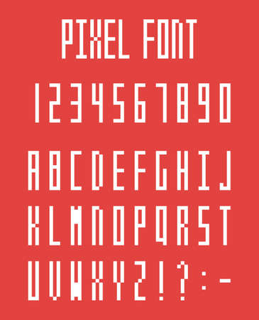 Pixel alphabet letters and number set, pixeled font
