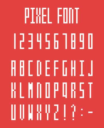 Pixel alphabet letters and number set, pixeled font