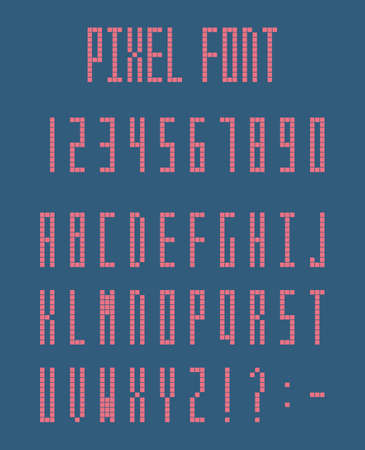 Pixel font, pixeled alphabet letters and numbers Ilustracja