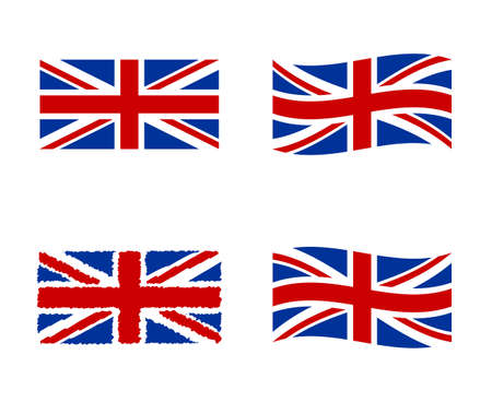 UK icons set, national symbol of the Great Britain - Union Jack