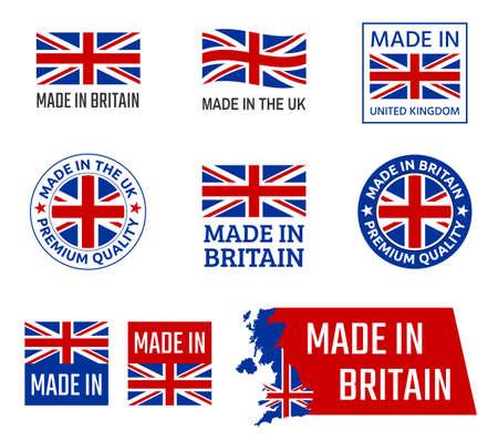 fabriqué au Royaume-Uni, emblème du produit de Grande-Bretagne Vecteurs