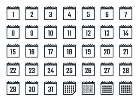 calendar icons set with dates from 1 to 31 Ilustracja