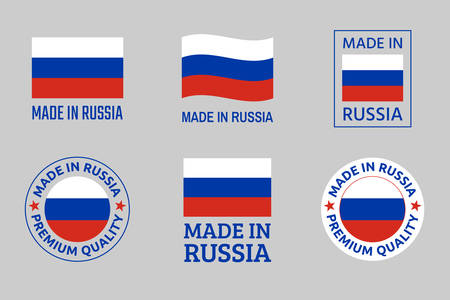 made in Russia icon set, Russian product labels