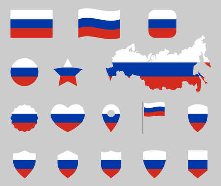 Russia flag icons set, Russian flag symbols