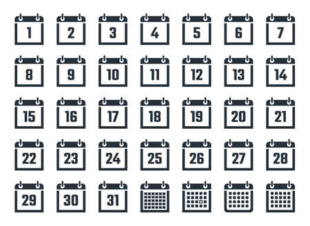 Set of calendar icons with dates from 1 to 31  イラスト・ベクター素材