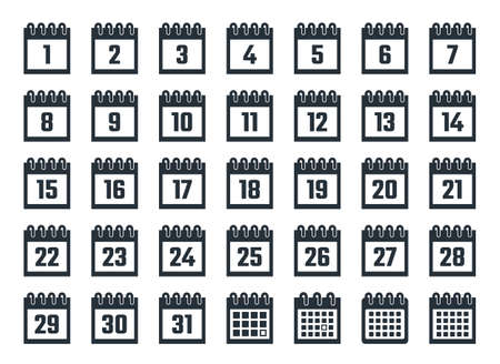 calendar icons with dates from 1 to 31  イラスト・ベクター素材
