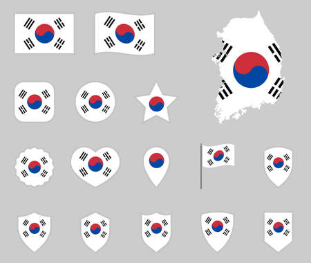 South Korea flag icons set, flag of Republic of Korea Ilustracja