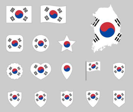 South Korea flag icons set, flag of Republic of Korea Zdjęcie Seryjne - 124346151