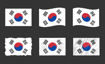 flag of South Korea, Republic of Korea flag vector images set Ilustracja