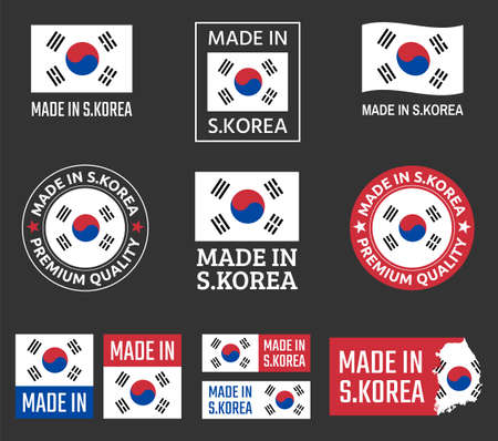 made in South Korea labels set, Republic of Korea product emblem  イラスト・ベクター素材