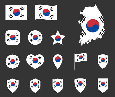 flag of South Korea set, Republic of Korea national flag icons