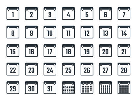 calendar icons set with dates from 1 to 31  イラスト・ベクター素材