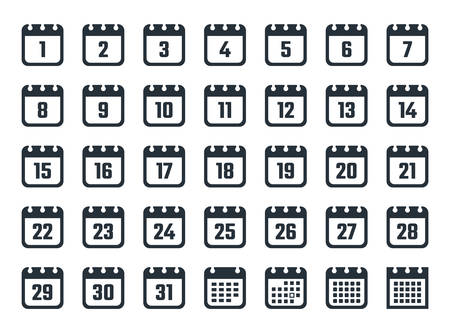 calendar icons with dates from 1 to 31 Ilustracja