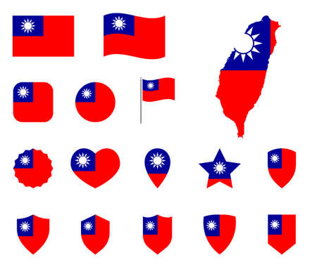 Flag of the Republic of China icons set, Taiwan flag symbols  イラスト・ベクター素材