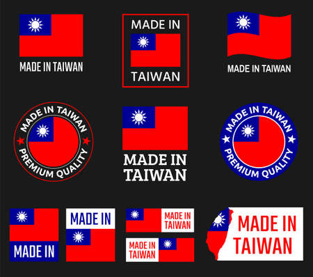made in Taiwan labels set, Republic of China product emblem  イラスト・ベクター素材