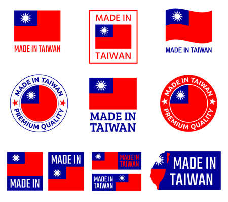 made in Taiwan icon set, Republic of China product labels Zdjęcie Seryjne - 123286480