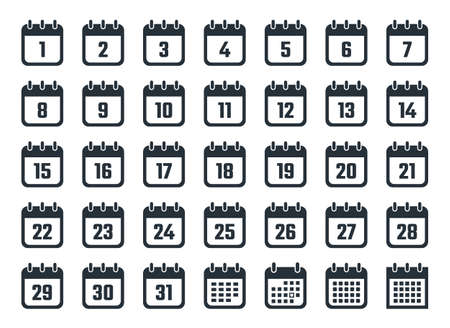Set of calendar icons with dates from 1 to 31 Ilustracja