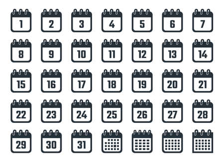 calendar icons set with dates from 1 to 31 Vettoriali