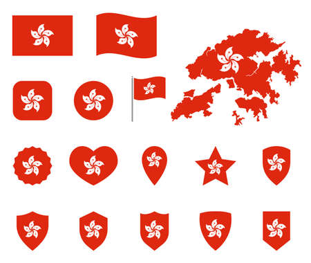Hong Kong flag symbols set