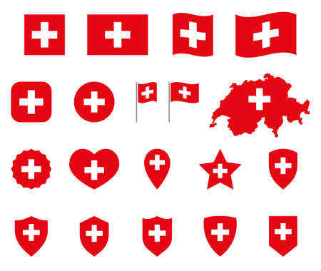 Switzerland flag icons set, national flag of Switzerland symbols Ilustracja