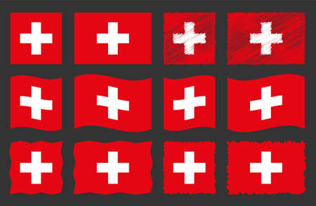 Switzerland flag, national flag Switzerland vector set Zdjęcie Seryjne - 124133252
