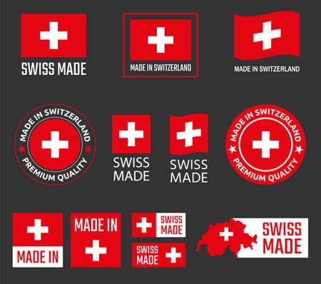 made in Switzerland labels set, Swiss made product emblem Zdjęcie Seryjne - 123286486