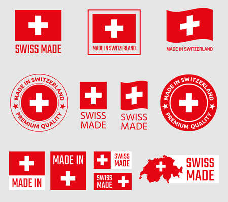 Swiss made icon set, made in Switzerland product labels