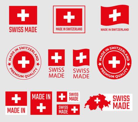 Swiss made Icon-Set, in der Schweiz hergestellte Produktetiketten