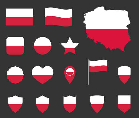 Poland flag symbols set, national flag icons of Poland