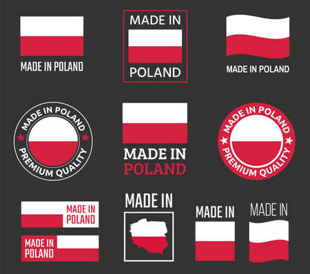 made in Poland icon set, made in Poland product labels  イラスト・ベクター素材