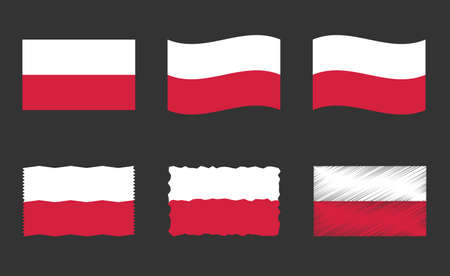 Poland flag, national flag of Poland vector set